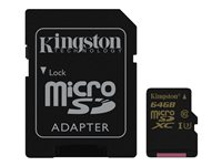 Kingston Gold - Tarjeta de memoria flash (adaptador microSDXC a SD Incluido) - 64 GB - M&N Soluciones Globales